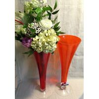 "Design Exclusive Vase ""Colored Glass"" with Elegant Flowers"