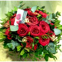 (21) red roses bouquet Extra Quality Dutch in basket !!! Super week Offer.