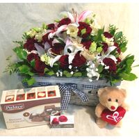 Exclusive arrangement with red roses (30)st. & Oriental Lillies + Chocolates + Teddy Bear.