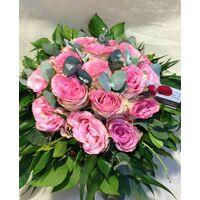 Pink  Roses (15+) stems round basket arrangement