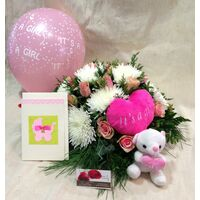 "Arrangement  ""Super Pack"" for new born baby girl + Balloon +Teddy !!"