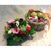 Glass + Basket ! Flowers + Fruits !