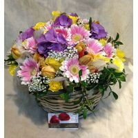 Easter Arrangement In Basket Spring Vivid Colors.