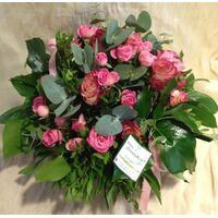 Pink  Roses (30+) stems round basket arrangement. Exclusive Varieties !