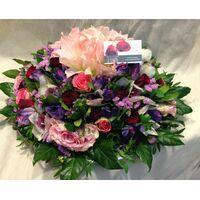 Flower arrangement on tray. Purple Parade !