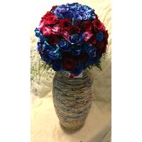 "Exclusive ""Paper Collage"" Vase max !!! With ""Rose Ball""  150 stems total."
