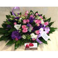 """Flower arrangement on tray """"Purple Flowers"""""""