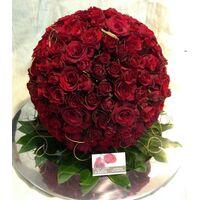 """""""Πρωτάθλημα Λουλουδιών Με Μπάλα (διαμ. περ. 45εκ.) Από Κόκκινα Τριαντάφυλλα"""""""