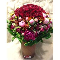 "Exclusive ""Red Roses"" Bouquet (50) Ecuador roses & assorted Paeonias"