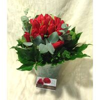 "Tulips ""On the go"" (20) stems in glass + decoration. Smash Offer !!!"