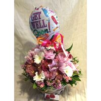 """Get Well Soon"" with Joyful  flowers"