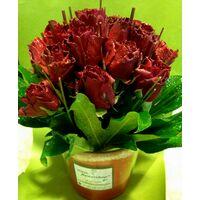 (21) κόκκινα τριαντάφυλλα Ολλανδικά σε βάζο με χρωματιστή άμμο