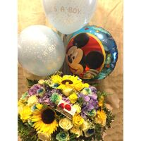 "Arrangement ""Super Pack"" for new born baby boy . X-large Teddy 60cm + Balloons !!"