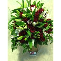 "Exclusive ""Red Roses"" Bouquet (50) roses & Oriental Lillies."