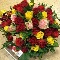 Πολύχρωμα τριαντάφυλλα (50) τεμ. σε καλάθι.
