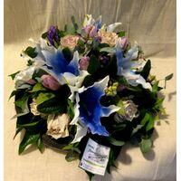 Flower arrangement on tray. White & Blue Flowers !!!
