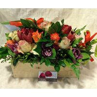 "Arrangement of flowers in excellent ""spring wooden""  pot !!!"