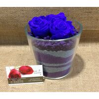 Rose Big Head (6cm)  (preserved) In Arrangement with decoration. (3) Pieces !!!