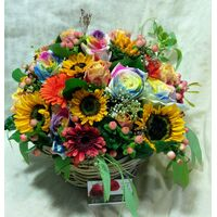 "Flower arrangement ""Multi Color Parade"". Glass or Basket."