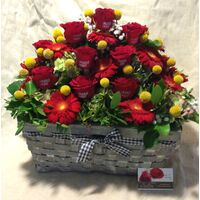 "Printed roses (20) stems. ""Your Message"" In Basket Arrangement with Season Flowers. Exclusive."