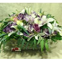 Basket with Purple Season Flowers.