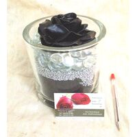 Exclusive Black Waxed  Rose (1)p. In Vase Arrangement!!!
