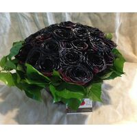 Roses Natural Black Baccara (30) stems. Very Exclusive. Glass Arrangement.