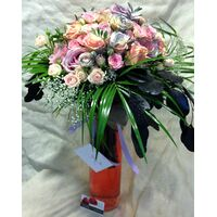Exclusive Roses Bouquet (50+) stems. in cylinder vase with colored water. New !!! Pastel & Silver Colors.