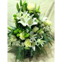 "Flower arrangement ""Pure White"" . Glass or Basket."