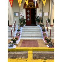 Wedding flower & candles decoration Exterior corridor. Autumn Flavor & Style.