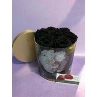 "Roses Preserved in decorative  15 cm χ 15 cm  ""Divine  Hatbox"". (7) heads."