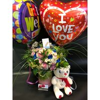 """Get Well Soon"" with  Flowers + Vase + Balloons + Teddy + Decoration"