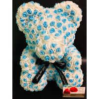 "Roses Teddy Bear. Dim. 40cm. In ""Decorative Package "". (1)piece. White & Blue Color Combination."