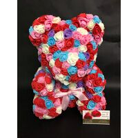 Αρκουδάκια από τριαντάφυλλα.Rose Bear 40cm. Συσκευασία Δώρου. Τεχνητά Τριαντάφυλλα. (Πολύχρωμο) (1) Τεμάχιο.