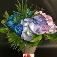 Blue Roses (21 total) stems arrangement in glass or ceramic vase with Hydrangeas. Exclusive !!!