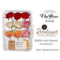 "Edible fresh roses  ""Rosalicious the taste of roses"" In ""Decorative (11) Pcs. Package "". Random Colors (or state your color preference)"