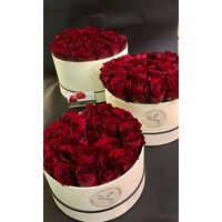 "Roses in decorative  ""Set of 3"" HatBoxes."