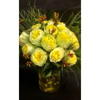 (21) yellow roses A' quality Dutch in basket with greens. Exclusive in vase.