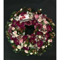 Wreath with pink flowers !!! (on oasis moss base diam.appr. 0,50m).