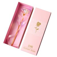 Galaxy Rose Flower 24K Gold Plated Foil Artificial. Exclusive Valentine's & Lover's Day In Gift Box !!!