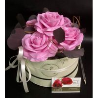 (4) Exclusive Pink Waxed  Roses In Cylinder Hat Box!!! NEW!!!