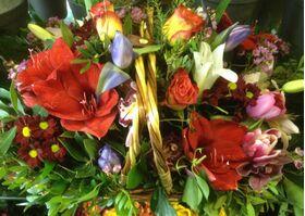 Ανθοπωλείο.Ανοιξιάτικη  Σύνθεση ανθέων με πολύχρωμα  λουλούδια σε καλάθι !!!