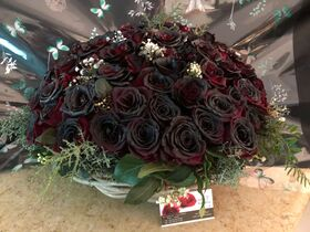 Roses Natural Black Baccara (70) stems. Very Exclusive. Quality Basket Arrangement.
