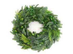 Χριστουγεννιάτικο στεφάνι με με έλατο ή μιξ πρασινάδες εποχής. Διαμ. 45-50εκ.