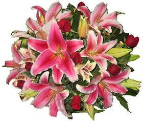 Pink or white lilies  oriental bouquet