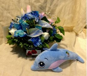 Arrangement for new born baby  boy. Pot or basket !! Exclusive with Teddy !!