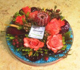 Φθινοπωρινή σύνθεση με λουλούδια σε γυάλινη πιατέλα (special)