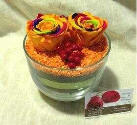 Τριαντάφυλλο Ουράνιο Τόξο σε σύνθεση.Πολυτελές