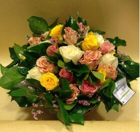 roses multi color basket (30) stems exclusive option