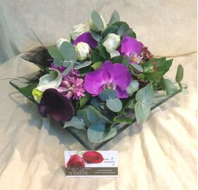 Arrangement with vanda or phalaenopsis orchids on glass. Exclusive !!!